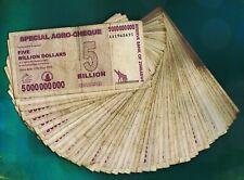 50 x 5 Billion Zimbabwe Dollars Banknotes Cheque Paper Currency Bundle Lot 50PCS
