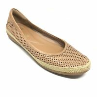 Women's Clarks Ballet Flats Shoes Size 7M Brown Leather Perforated Slip On F7