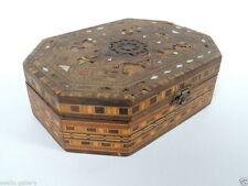 1944's Vintage Primitive Old Israel Art Mother Of Pearl Wood Trinket Jewelry Box