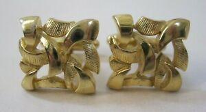 Vintage DANTE Gold Tone Art Designed Openwork Cufflinks