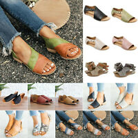 Women Open Toe Slip On Side Cut Out Flat Ankle Sandals Low Heel Loafers Shoes