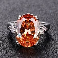 Charms (22x18MM) 21.30CT Champagne Shining Gemstone Rings 925 Sterling Silver