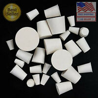 34mm Long 56mm x 46mm 6 Pack White CleverDelights Solid Rubber Stoppers Lab Plug #11 Size 11