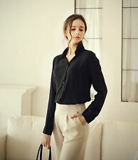 1pc Black Size L Ladies Long Sleeve career Chiffon Blouse  Button Casual T-Shirt