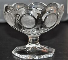 Fostoria Coin Clear Glass Compote Candy Dish with Frosted Liberty Eagle & Torch