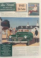 1941 DeSoto Convertible - Big 11x14 Vintage Advertisement Print Car Ad LG41