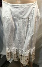 Peter Nygard Women's White Embroidered Layered Skirt Size Medium/Small