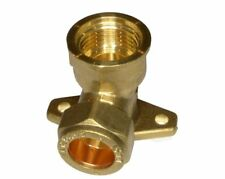 "15mm Brass Compression Fitting to 1/2"" BSP Female Threaded Iron Back Plate Elbow Two 2"