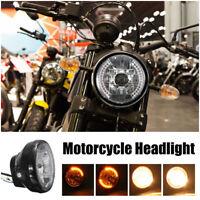 "7"" 35W Motorcycle Headlight Head Lamp Round Halogen H4 Bulb For Honda Yamaha"