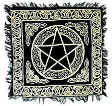 """Fringed Gold on Black Pentagram Altar Cloth 18""""x18""""!"""