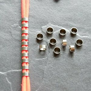 10 stainless steel mini ring spacer paracord / lanyard beads 5mm hole - UK