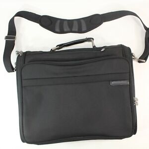 Briggs & Riley Briefcase Laptop Messenger Travel Bag Black 18x14x3