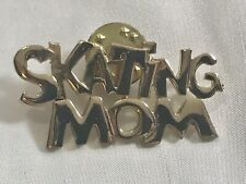 Goldtone Skating Mom Lapel Pin