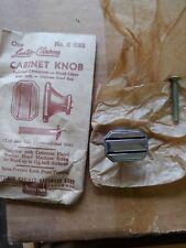 Vintage Luster Chrome Cabinet Knob Black Lines Drawer Pull Handle Amerock Square