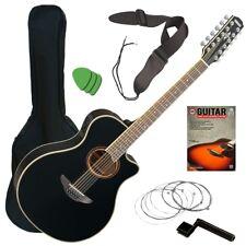 Yamaha APX700II-12 Acoustic-Electric Guitar - Black GUITAR ESSENTIALS BUNDLE