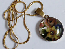 Round Concave Glass with Painted Flowers pendant & gold tone chain necklace