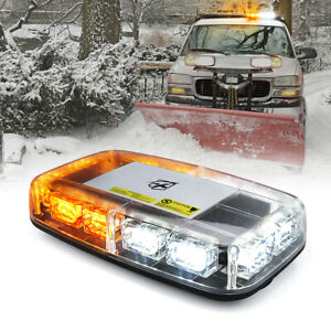 Xprite Magnetic 36 LED Rooftop Strobe Light for Car Bus Jeep Trucks Amber+White