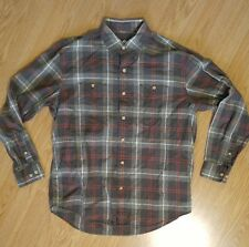 Timberland mens large plaid button up shirt green red 100% cotton