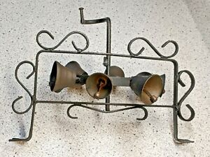 Antique Vintage Wrought Iron Rotating Revolving Doorbell w Brass Bells RARE EXC!