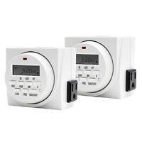 VIVOSUN 7 Day Dual Outlet Program Digital Timer Grow Light On Off Switch2 Packs