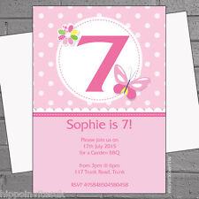 Personalised Girls Butterfly Age Pink Childrens Birthday Party Invites x12 H0980