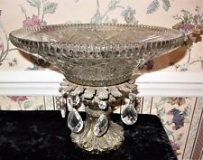 MID CENTURY BRASS & CUT GLASS WITH TEAR DROP CRYSTAL CENTER PIECE FRUIT BOW;