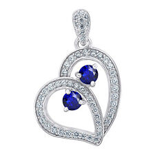 Sterling Silver Womens  Cubic Zirconia CZ 2 Two Blue Stone Heart Charm Pendant