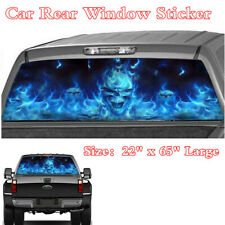 "1Pc Blue Flaming Skull Style 22x65"" Decal Sticker For Car Pickup SUV Rear Window"