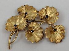 18K YELLOW GOLD LEAF FLOWER SAPPHIRE TIFFANY & CO. BROOCH PIN