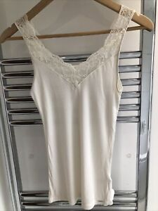 LADIES MARKS & SPENCER AUTOGRAPH CREAM MODAL/SILK BLEND LUXURY RIBBED VEST 8
