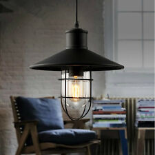 Modern Vintage Industrial Retro Loft Cage Glass Ceiling Lamp Shade Pendant Light