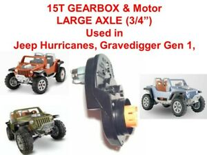 15T LARGE AXLE JEEP HURRICANE GEARBOX & MOTOR for POWER WHEELS Ride Ons