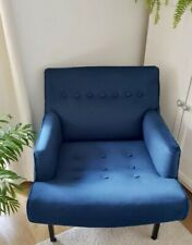 Executive Lounge chair upholstered in pacific blue velvet