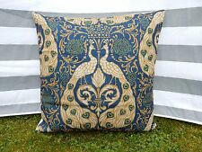 Navy Blue & Gold Peacock Pattern Cushion Cover, Cotton Canvas, Designer, Modern
