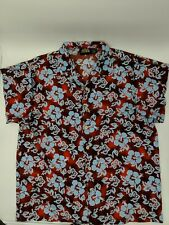 ODO Brand Hawaiian Tropical Shirt in Red with Baby Blue Flowers Men's XL