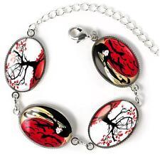 Japanese Geisha Girl Gothic Bats Cherry Blossom Sterling Silver Charm Bracelet