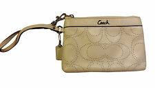 "Coach Wristlet White All Leather 7"" x 5"" Clean Inside/Very Good Condition FrShp"