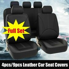 US 5-Sit Car Seat Cover PU Leather Cushion Front Rear Protector Seat Set Black