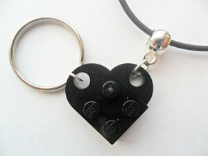 Black Lego heart necklace and keychain set best friends great gift idea