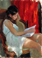 Oil painting young girl in white dress reading a novel in summer Hand painted
