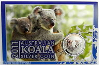 2011 AUSTRALIAN KOALA SILVER 1oz Coin on Card
