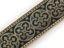 "2¼"" Chrch Vestment Jacquard Trim Pugin Cross Gray & Gold GothicTrefoil 3 Yds DIY"