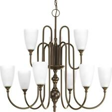 Progress Lighting Revive 9-Light Antique Bronze Chandelier with Etched Glass
