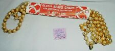 """Christmas Garland Mercury Glass Gold 7' Long 5/16"""" Beads #508 Package Vintage"""