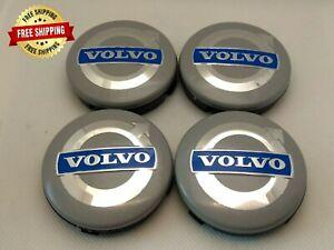 Volvo Wheel Center Hub Caps Rim Cap Silver Blue Emblem 4x64mm 3546923