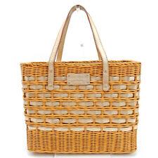 Auth kate spade Straw Bag Handbags Women''s Beige Gold Straw Bag Sale used E1458