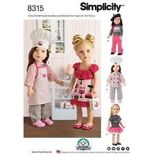 "SIMPLICITY SEWING PATTERN 18"" DOLL CLOTHES FUN CHEF JACKET HAT SHIRT TOP 8315"