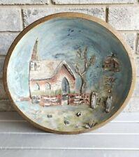 Antique Primitive Wood Bowl Painted Relief Church Scene Folk Art AAFA 13.5 inch