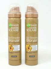 2 x Garnier Ambre Solaire No Streaks Bronzer Self Tan Dry Mist Face 75ml Intense