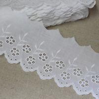 "5Yds Embroidery scalloped cotton eyelet lace trim 2.8"" (7cm) YH868 lacekingUSA"